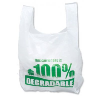 Degradeable White Vest Carrier Bags