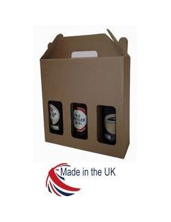 Plain Kraft Bottle Box 500ml 3 Bottle 20/Pack