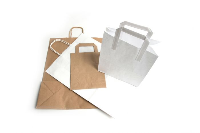 Kraft Paper Bags With Handle 215 x 105 x 250mm White 250 Pack