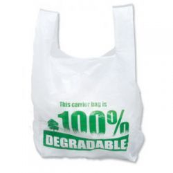 Degradable White Vest Carrier Bags 275mm x 425mm x 525mm 2000's