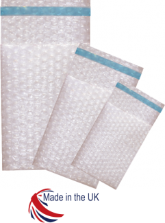 100mm x 135mm Double Laminate Bubble Bags + Self Seal Lip 750/Box